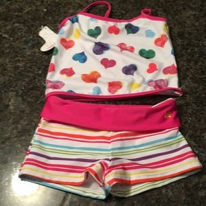 Little Miss Matched striped and hearts tankini!